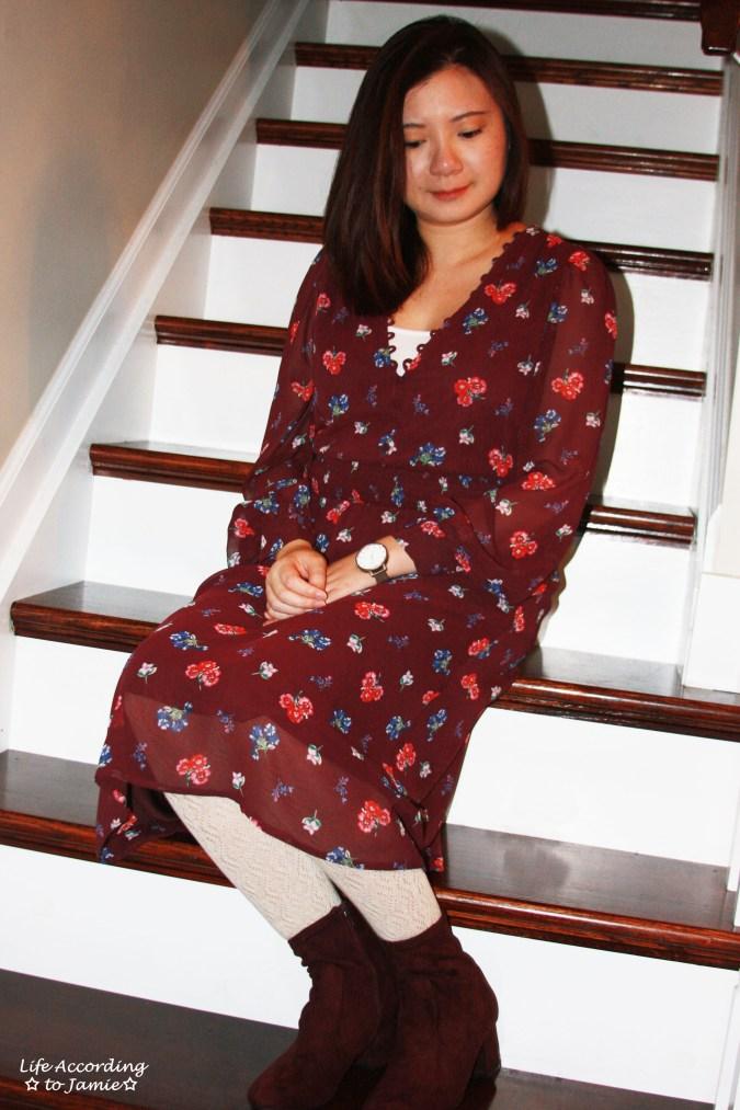 Floral Smocked Waist Midi Dress 10
