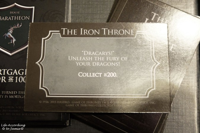 Game of Thrones Monopoly - The Iron Throne Cards