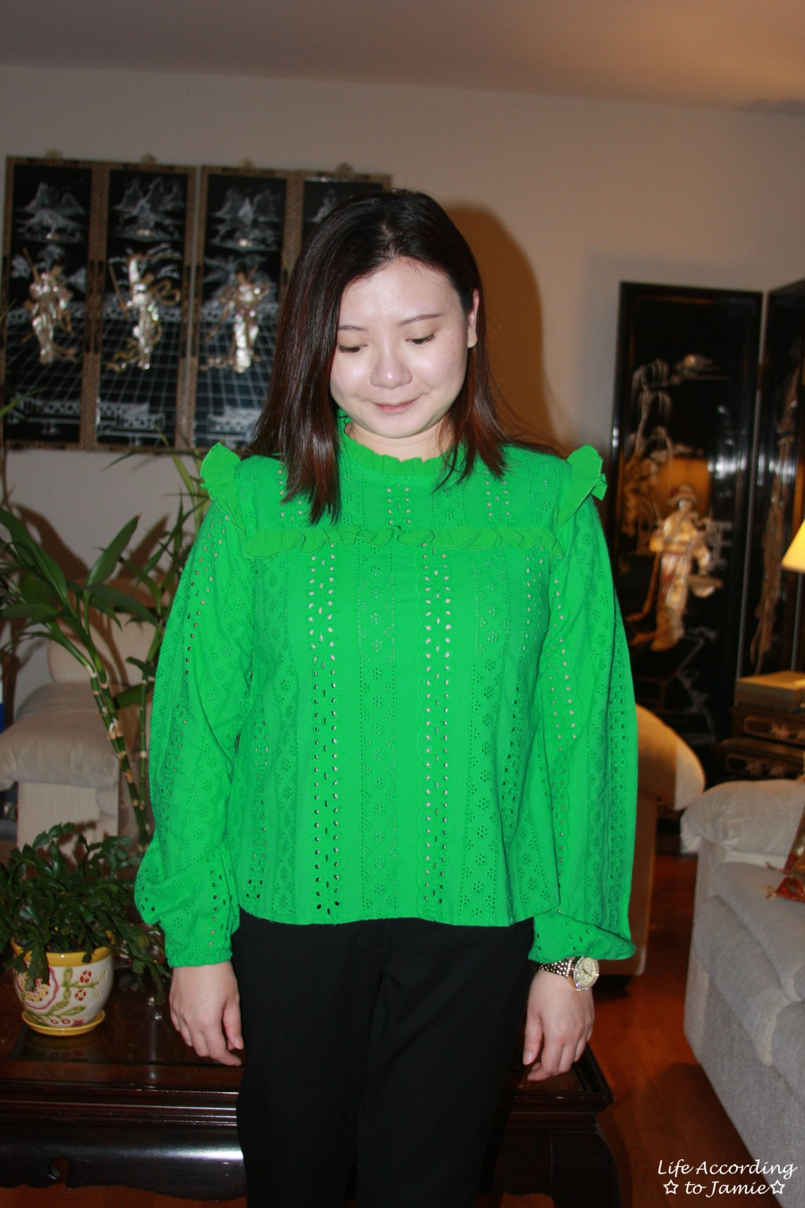 Green Broderie Lace Smock Top