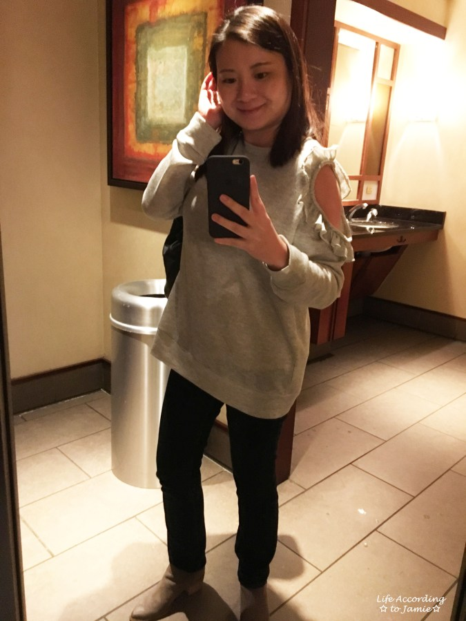 Grey Ruffle Trim Cold Shoulder Sweatshirt 1