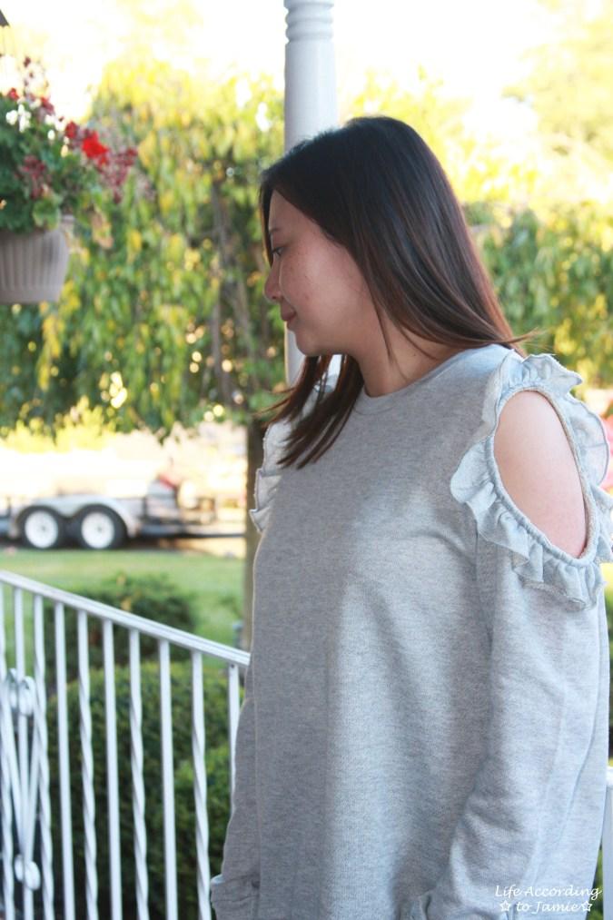 Grey Ruffle Trim Cold Shoulder Sweatshirt 11