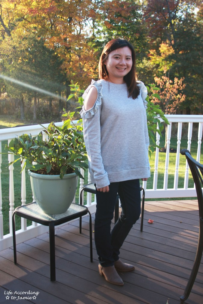 Grey Ruffle Trim Cold Shoulder Sweatshirt 6