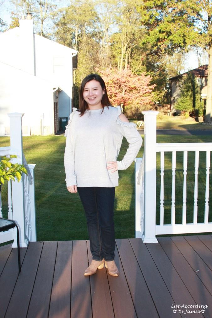 Grey Ruffle Trim Cold Shoulder Sweatshirt 8