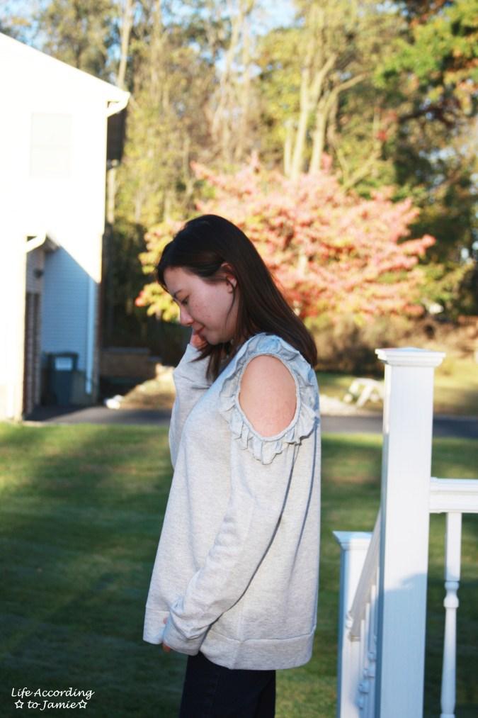 Grey Ruffle Trim Cold Shoulder Sweatshirt 9
