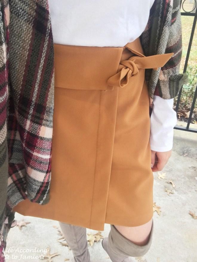 Olive Green Plaid Ruana + Foldover Wrap Skirt 10