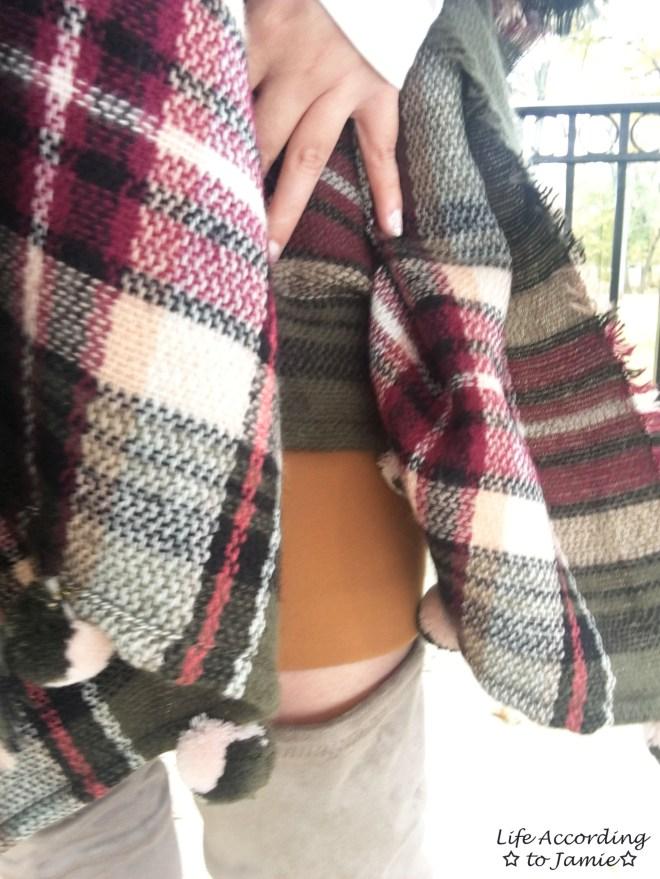 Olive Green Plaid Ruana + Foldover Wrap Skirt 13