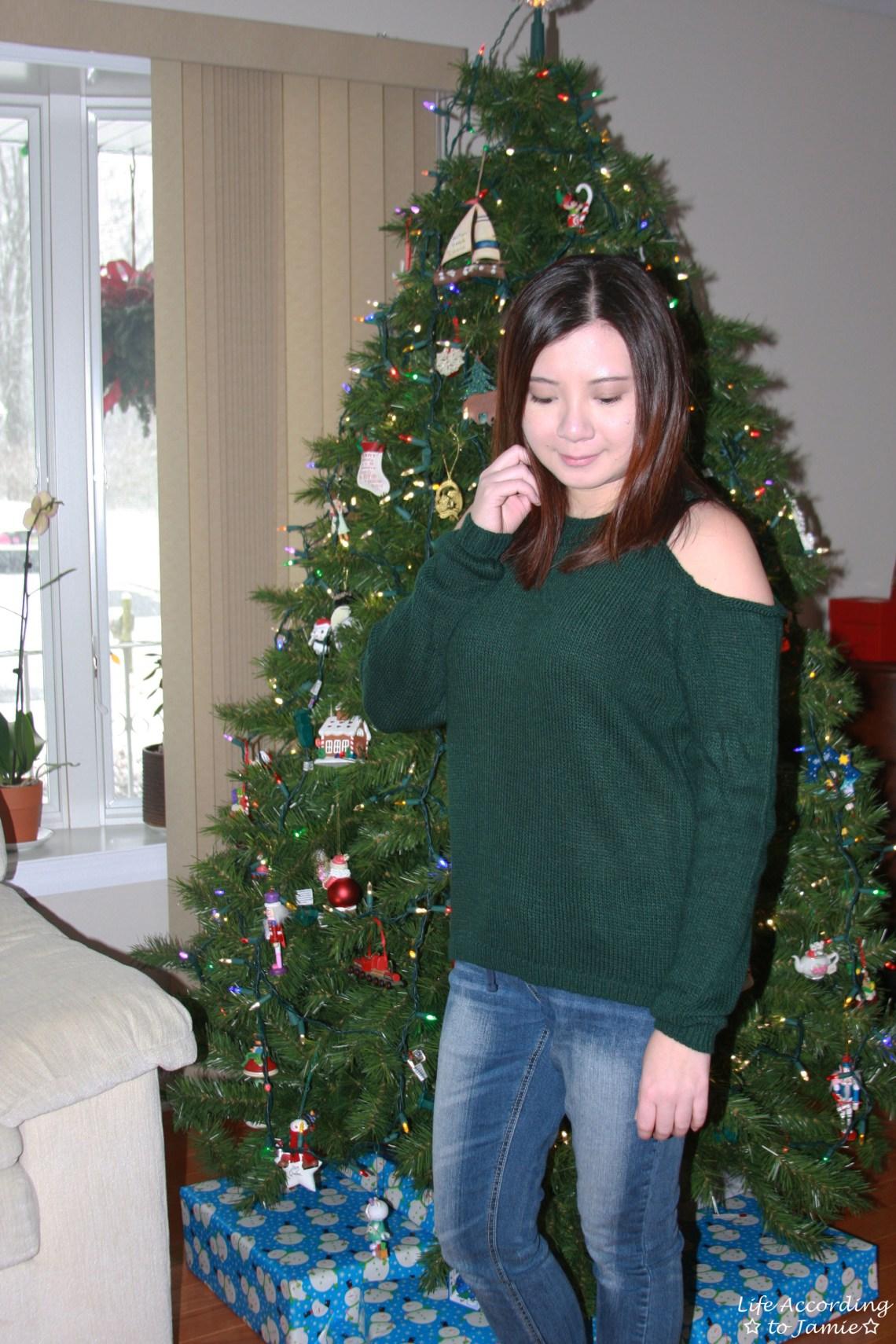 Pine Green Cold Shoulder