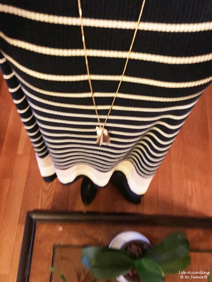 Ribbed Colorblock Dress + Druzy Necklace 1