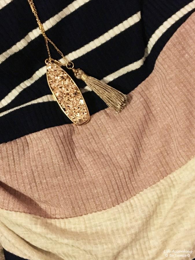Ribbed Colorblock Dress + Druzy Necklace