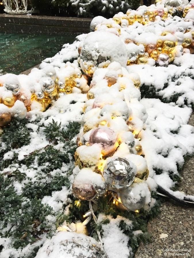 Rockfeller Center - Snowy Ornaments