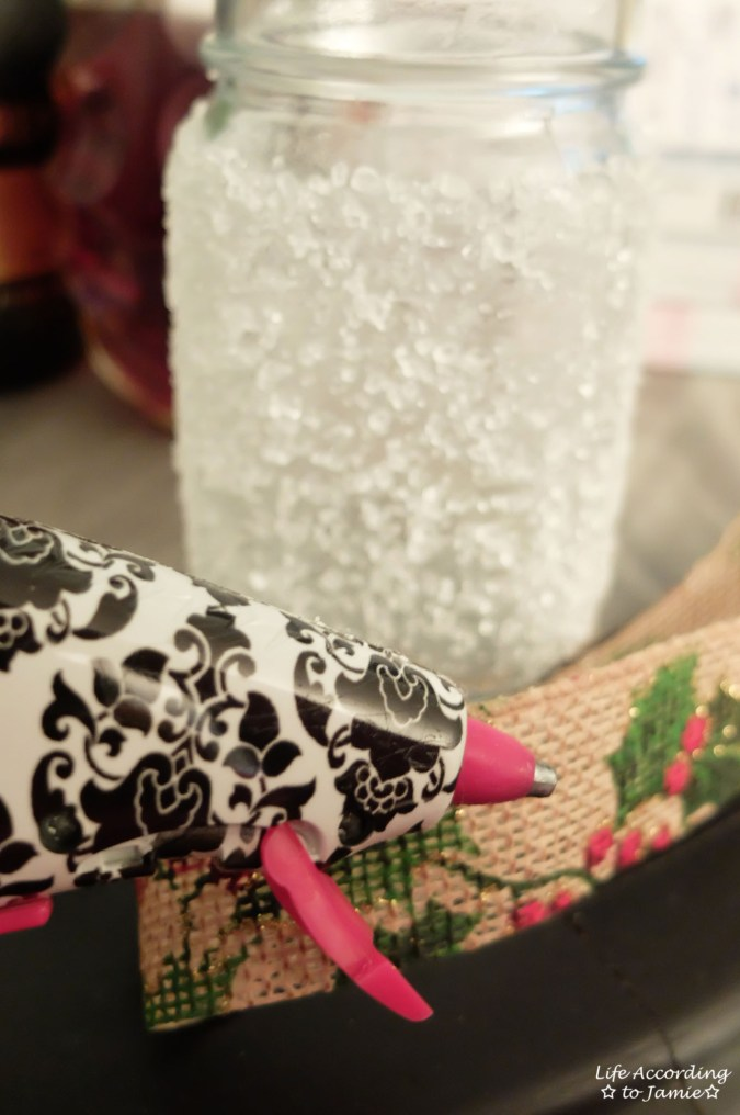 Snowy Mason Jar - Christmas Ribbon