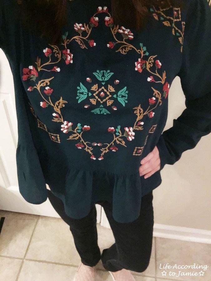 Teal Embroidered Peplum 1