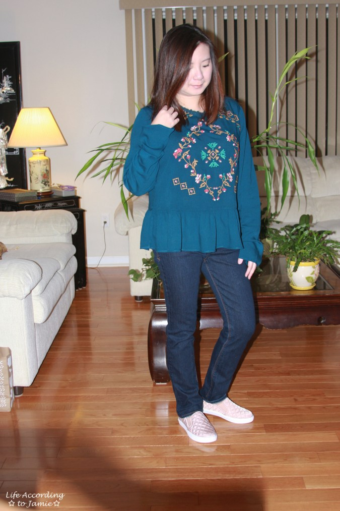 Teal Embroidered Peplum 6