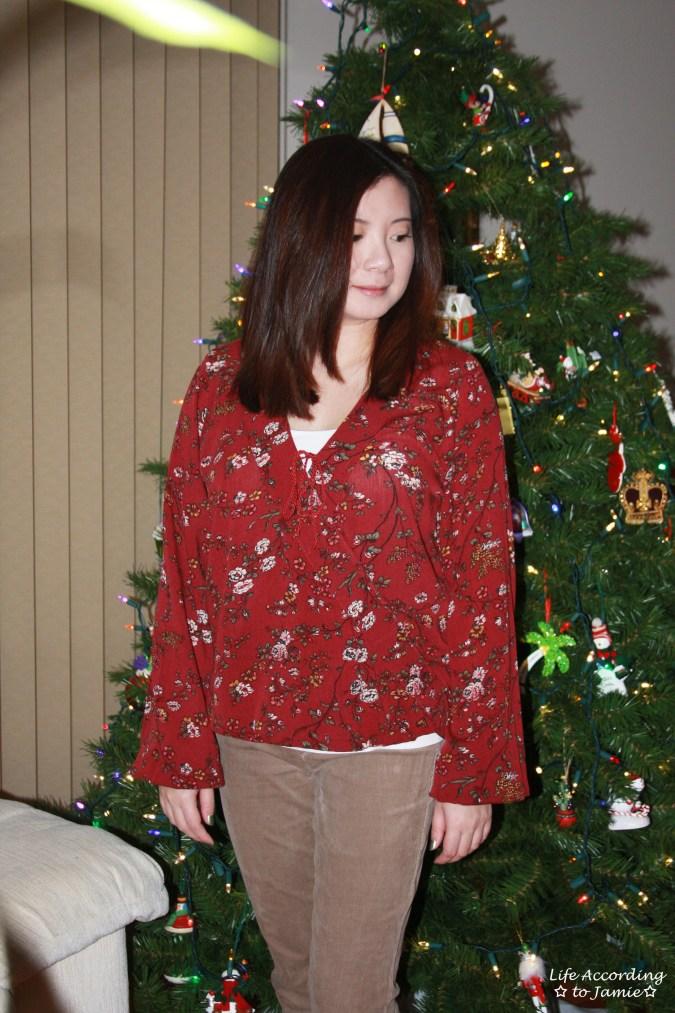 Burgundy Floral Wrap Top 7