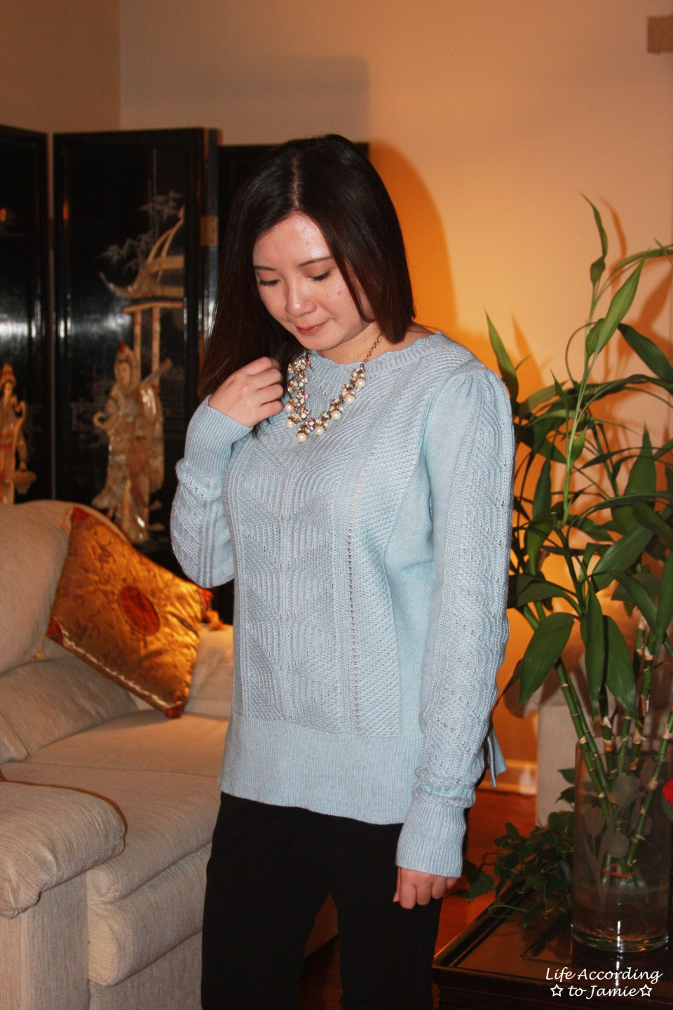 Mixed Chevron Sweater + Pearl Statement Necklace 7