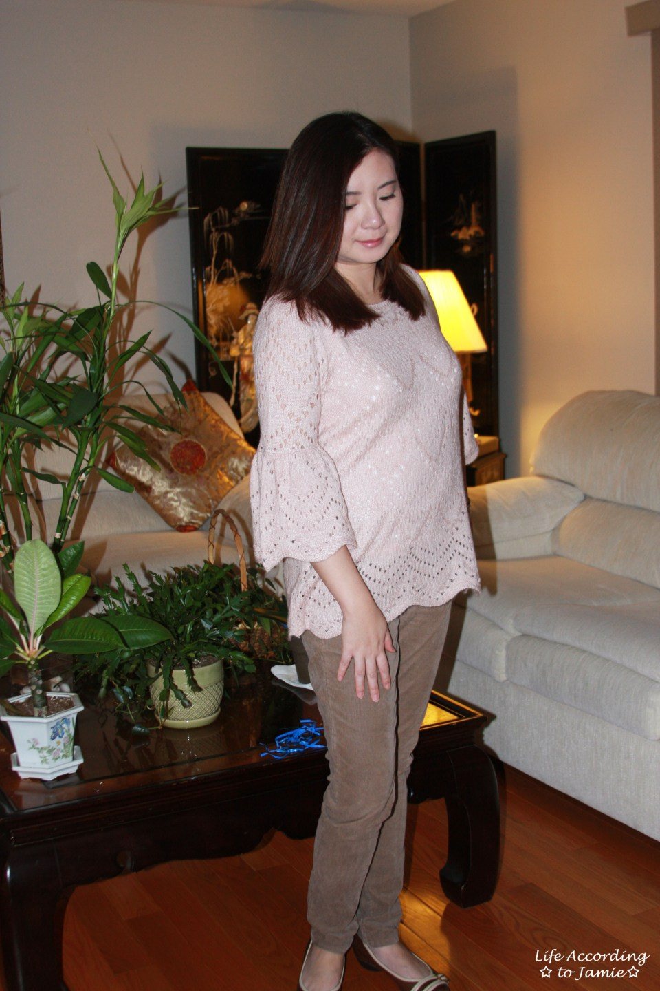 Pink Silhouette Bell Sleeve Sweater 3