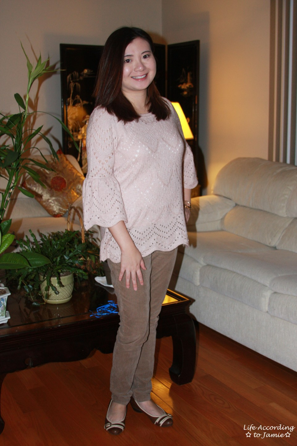 Pink Silhouette Bell Sleeve Sweater 4