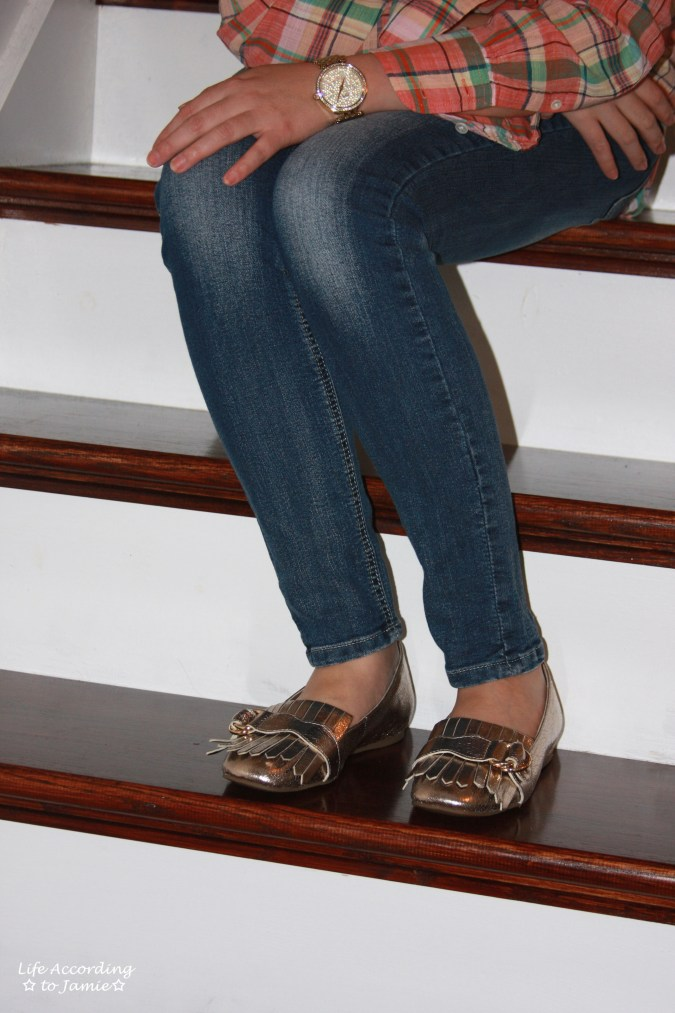Plaid Henley + Gold Metallic Loafers 5
