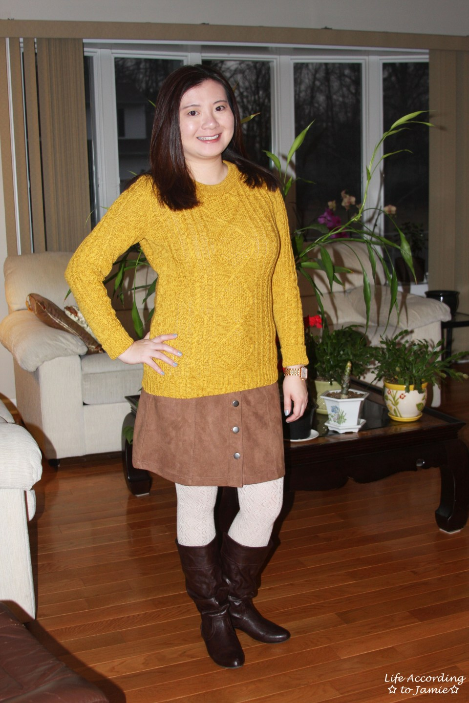 Golden Yellow Cable Knit + Faux Suede Skirt 3