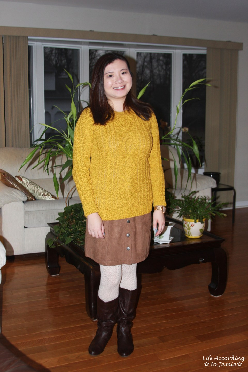 Golden Yellow Cable Knit + Faux Suede Skirt 8