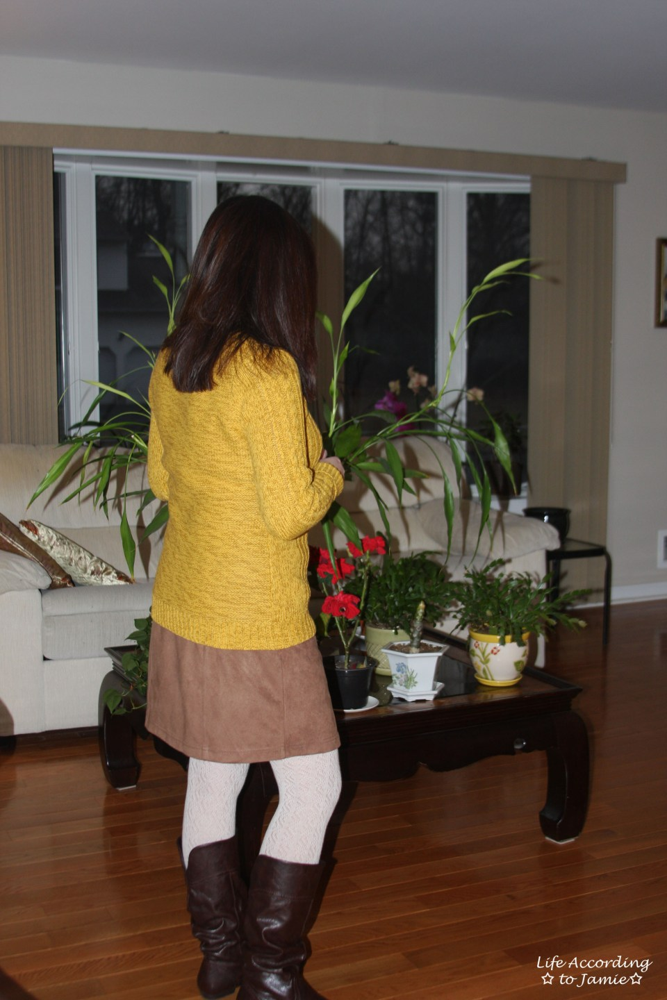 Golden Yellow Cable Knit + Faux Suede Skirt 9