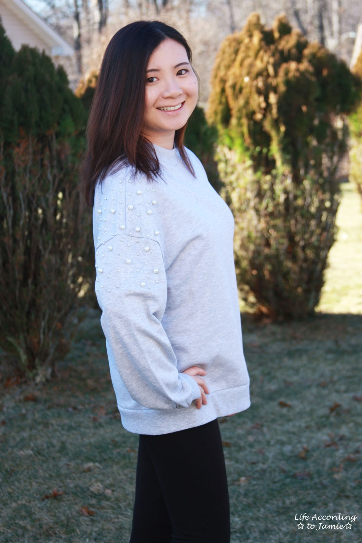 Pearl Embellished Sweatshirt 10