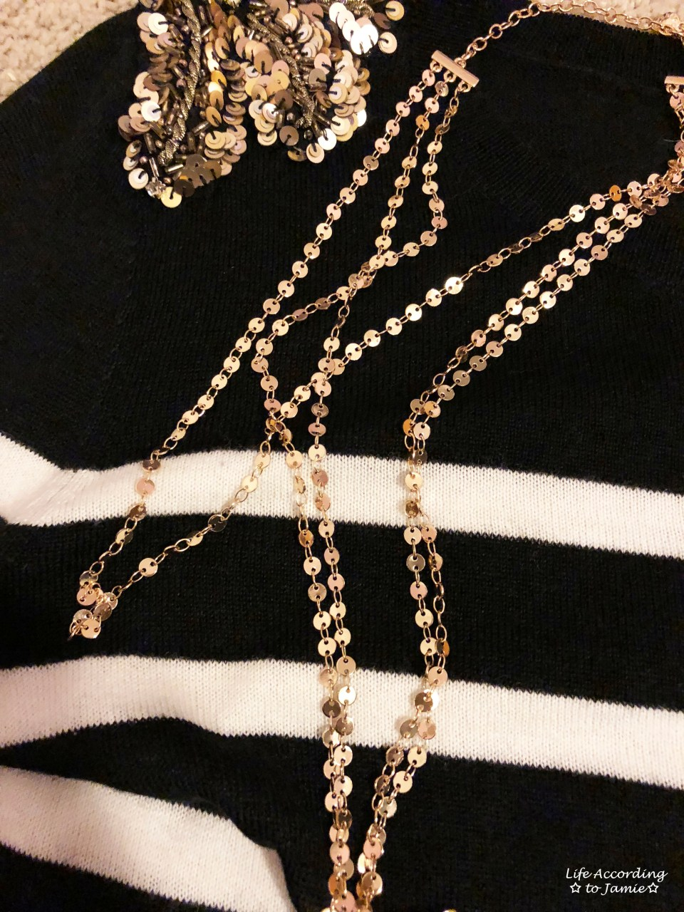 Sequin Shoulder Top + Gold Disc Layered Necklace