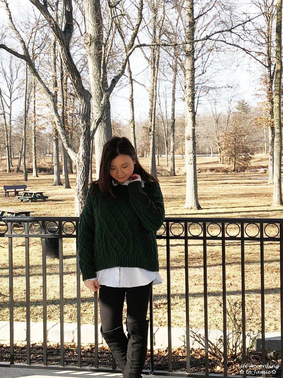 Two-Piece Cable Knit + Collared Shirt 1