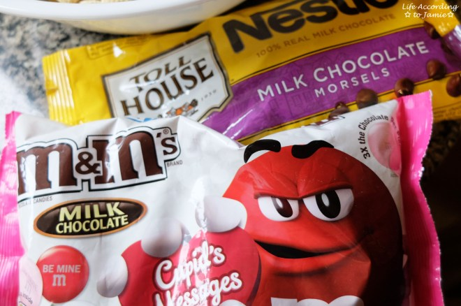 Valentine's M&Ms + Chocolate Chips