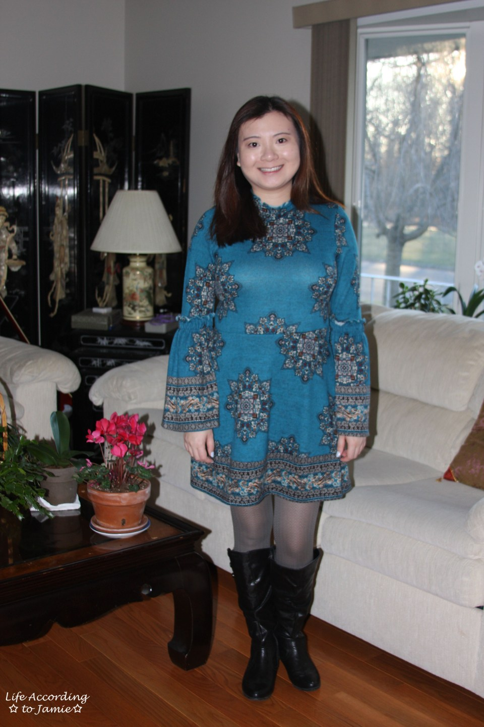 Bell Sleeve Fleece Dress 12