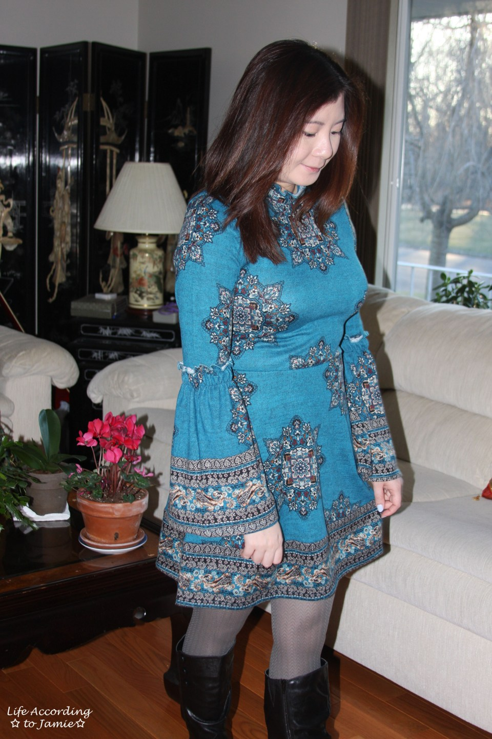 Bell Sleeve Fleece Dress 6