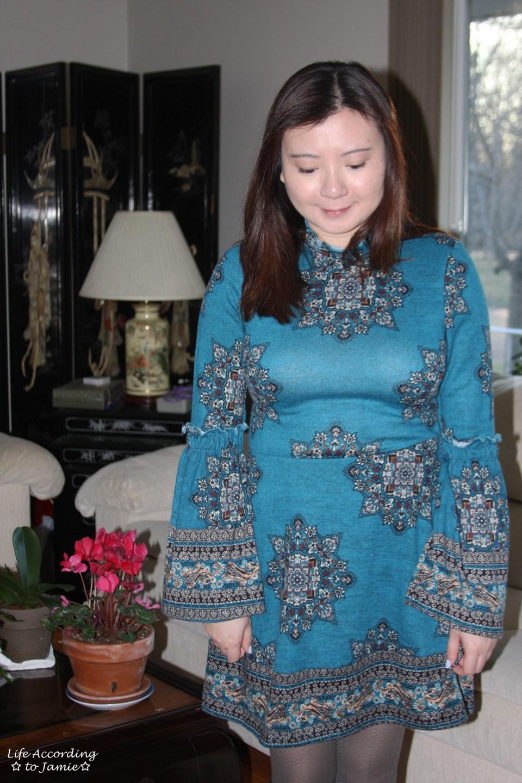 Bell Sleeve Fleece Dress 7