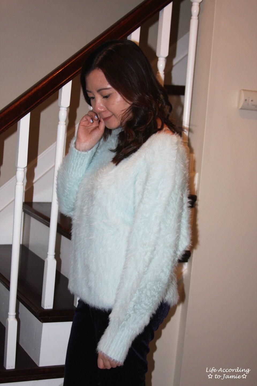 Ice Blue Fuzzy Sweater 10