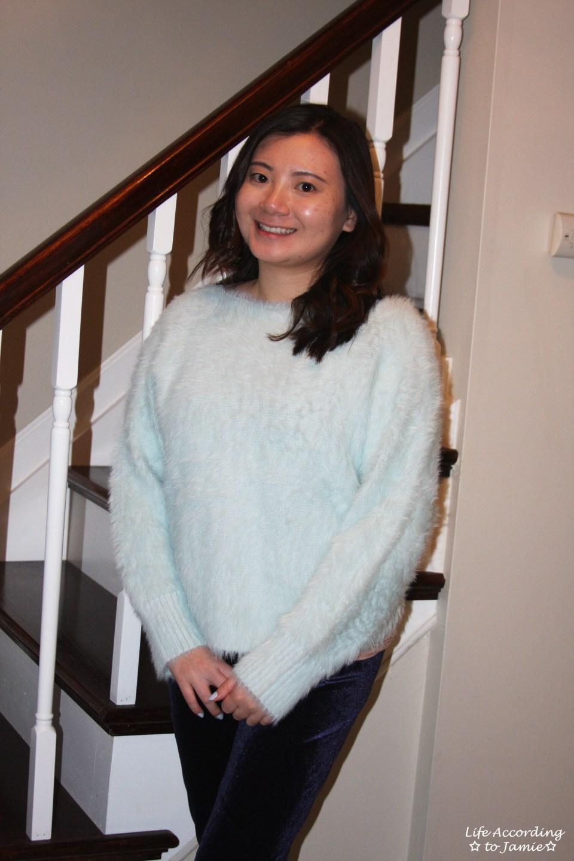 Ice Blue Fuzzy Sweater 11