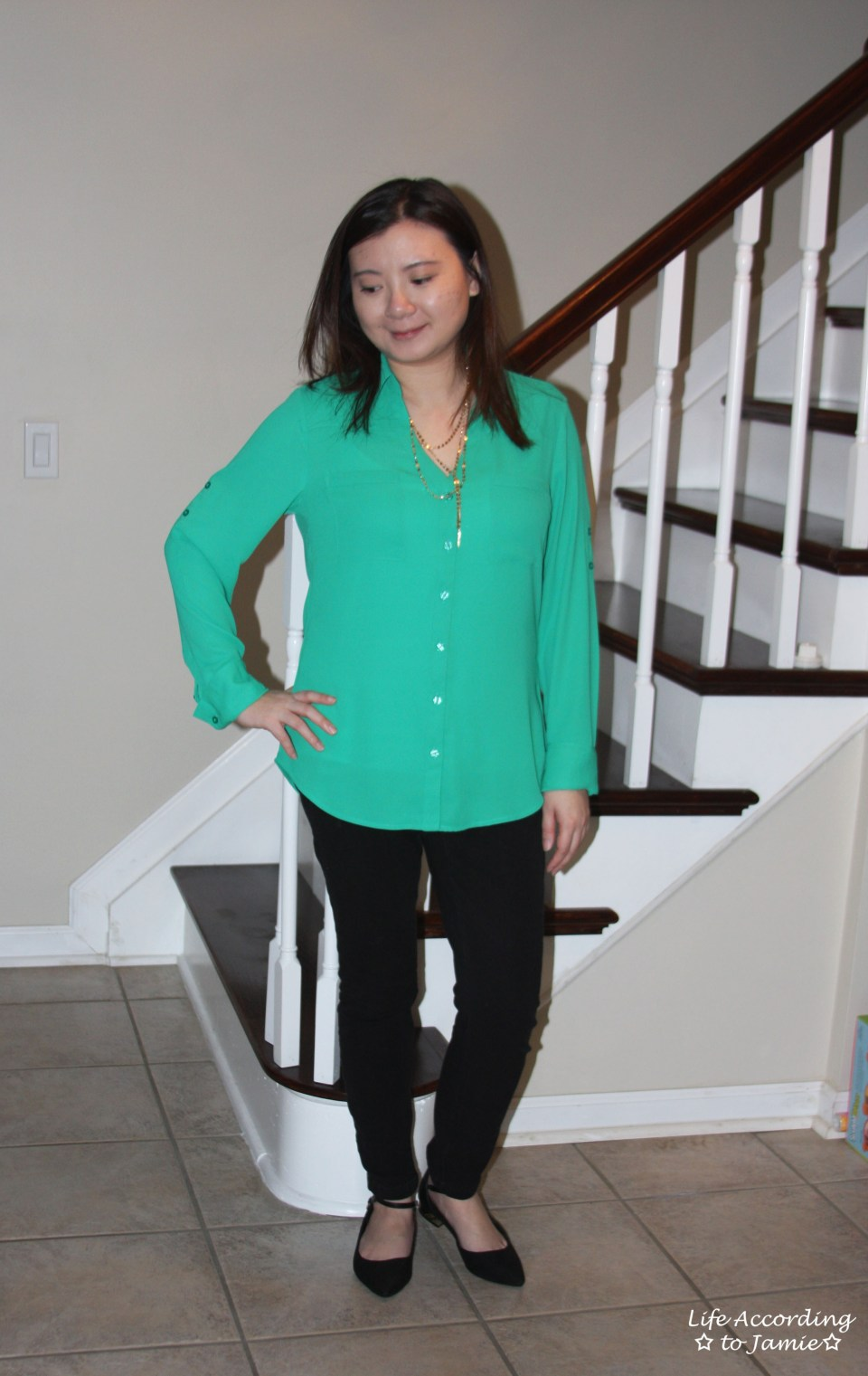 Kelly Green Blouse + Gold Layered Necklace 4