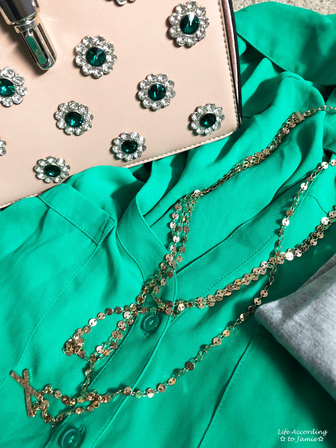 Kelly Green Blouse + Gold Layered Necklace