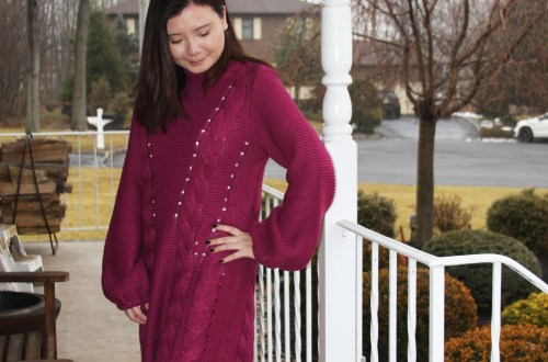 Magenta Balloon Sleeve Sweater Dress