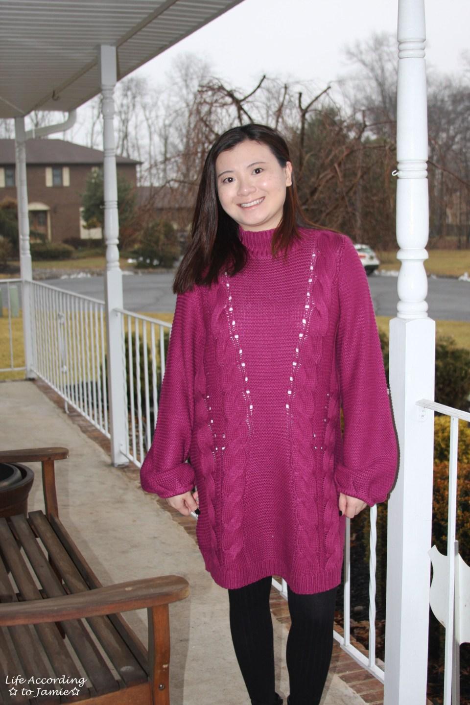 Magenta Balloon Sleeve Sweater Dress 12