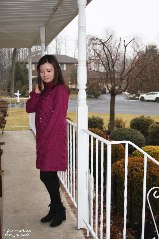 Magenta Balloon Sleeve Sweater Dress 5