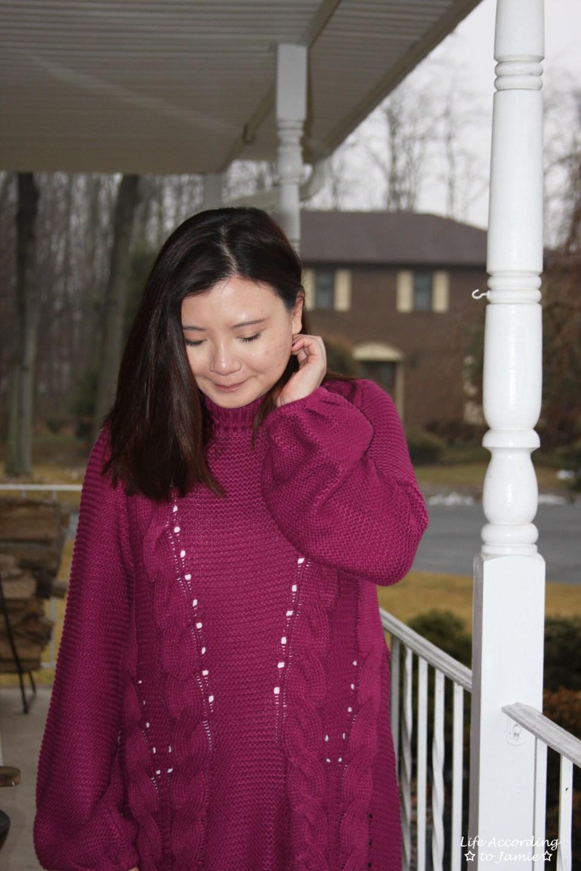 Magenta Balloon Sleeve Sweater Dress 7
