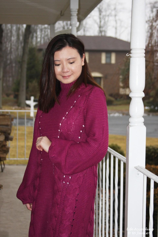 Magenta Balloon Sleeve Sweater Dress 8