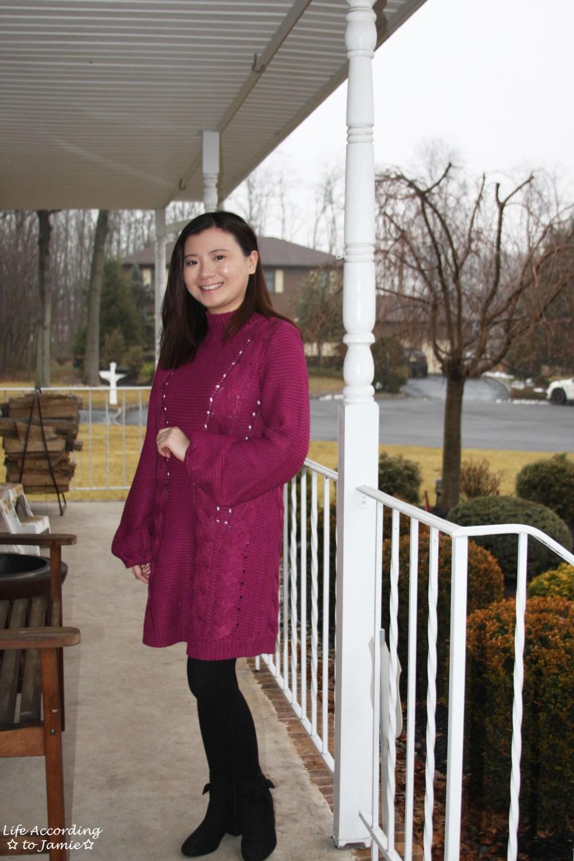 Magenta Balloon Sleeve Sweater Dress 9