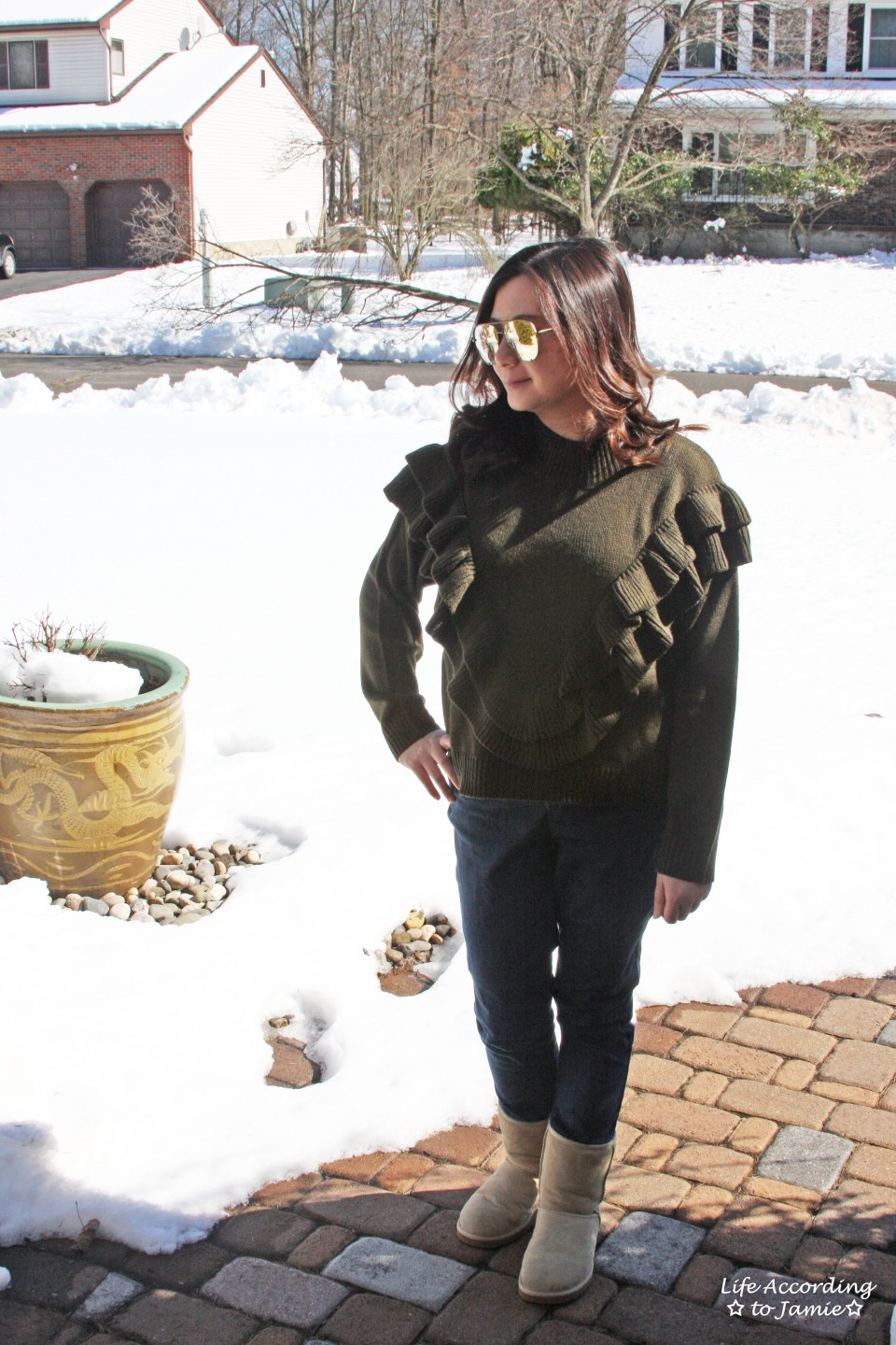Olive Double Ruffle Sweater 10