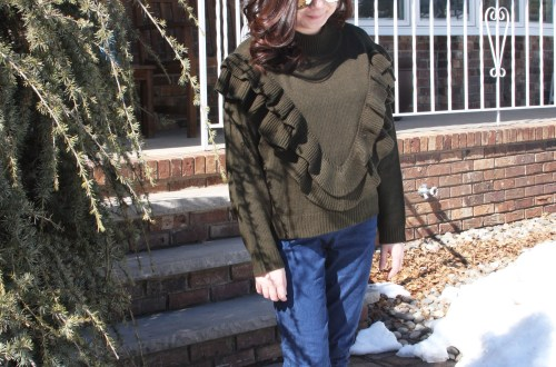 Olive Double Ruffle Sweater