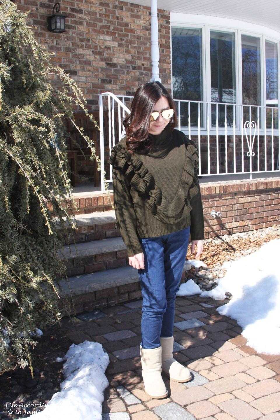 Olive Double Ruffle Sweater 4