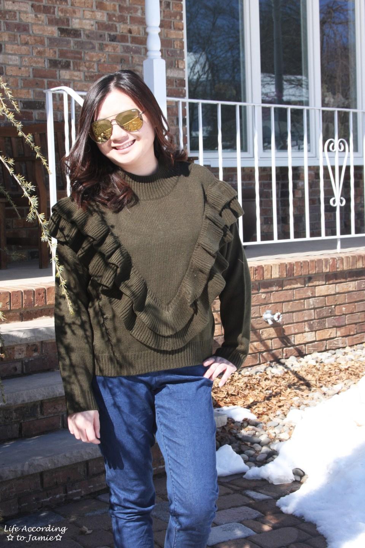 Olive Double Ruffle Sweater 6