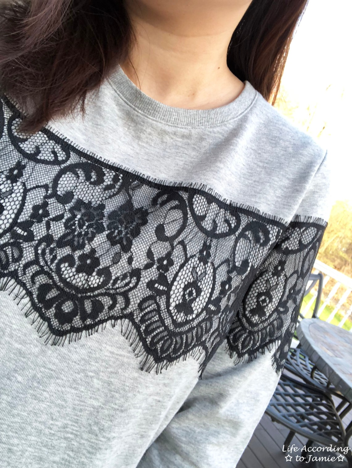 Black Lace Sweatshirt
