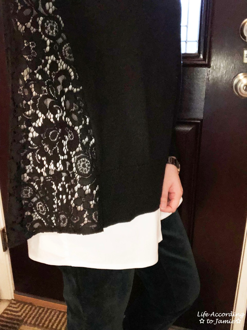 Collared Lace Back Sweater 1