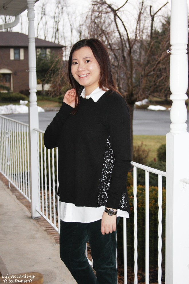 Collared Lace Back Sweater 4