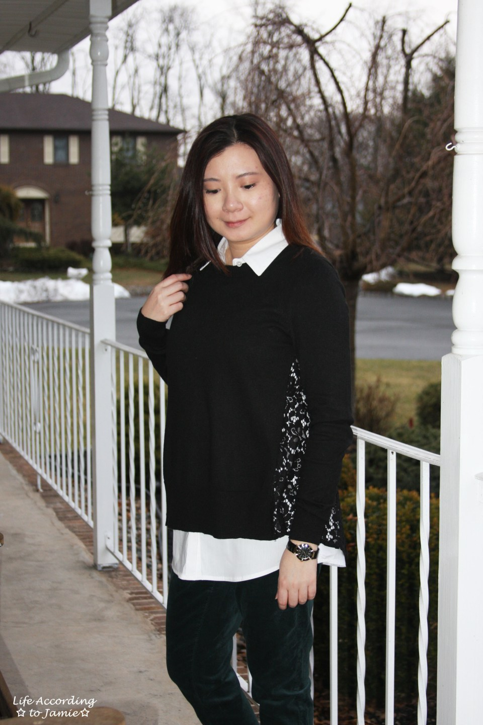 Collared Lace Back Sweater 5